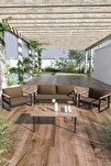 Kobalt Bahçe Balkon Oturma Takımı Sehpalı 2+1+1 Kahve