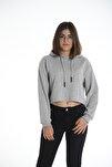 Kadın Gri Kapüşonlu Crop Sweatshirt Hoddie Ylkn0031