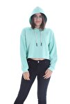 Kadın Mint Kapüşonlu Crop Sweatshirt Hoddie Ylkn0031