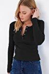 Kadın Siyah Çıtçıtlı Kaşkorse Bluz MDS-345-BLZ