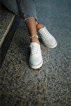 Kadın Beyaz Siyah Günlük Spor Ayakkabı