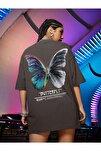 Kadın Antrasit Butterfly Oversize T-shirt