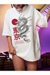 Kadın Beyaz Warrior Oversize T-shirt