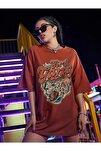 Kadın Girl Gang Kiremit Oversize T-shirt