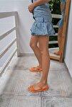 Marylan Kadin Orange Vegan Deri Sandalet