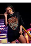 Kadın Girl Gang Siyah Oversize T-shirt