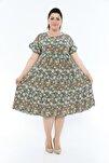 Büyük Beden Midi Çiçekli Yazlık Kadın Elbise