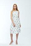 Beyaz Desenli Kuşaklı Astarlı Yakma Vual Elbise Je545318