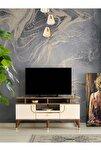 130 Cm Art Raflı Tv Sehpası Pasifik Ceviz - Krem