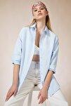 Kadın Gök Mavi Oversize Uzun Basic Gömlek DD00842