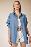 Kadın İndigo Mavi Oversize Uzun Basic Gömlek DD00842