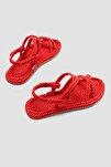 Pauletta Kırmızı Halat Detaylı Sandalet
