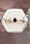 Mistik Topaz Siyah Taşlı Ayarlanabilir 14 K Rose Altın Kaplama Kadın Yüzük