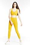 Kadın Sarı Parlak Disco Alt-üst Tayt Takımı