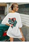 Kadın Sırt Baskılı Dinazor Oversize T-shirt