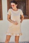 Kadın Bej Kısa Kollu Altı Fırfırlı Elbise Arm-20Y001032