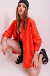 Kadın Turuncu Oversize Uzun Dokuma Gömlek ALC-X6828