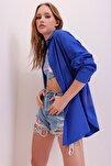Kadın Saks Oversize Uzun Dokuma Gömlek ALC-X6828