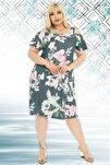 Yaprak Ve Çiçek Desenli Askılı Sandy Elbise