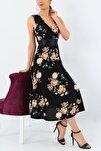 Kadın Büyük Beden Krep Kumaş Sıfır Kol Kemer Dahil Kruvaze Yaka Gül Desenli Elbise Boy 120cm
