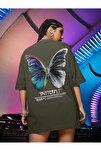 Kadın Haki Butterfly Oversize T-shirt