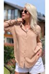 Kadın Basic Standart Kalıp Dokuma Viskoz Kumaş Uzun Kol Gömlek Bluz