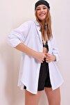 Kadın Beyaz Oversize Uzun Dokuma Gömlek ALC-X6828