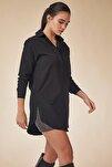 Kadın Siyah Uzun Boyfriend Poplin Gömlek BP00045