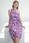 Elbise-v Yaka Kolsuz, Bel Drape Kemer Detaylı