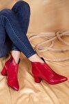 Kadın Kırmızı Hakiki Deri Topuklu Bot