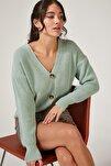Kadın Uçuk Çağla Yeşili V Yakalı Düğmeli Triko Hırka ZA00025