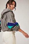 Kadın Gri Fermuarlı Kapüşonlu Polar Sweatshirt OX00006