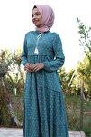 Kadın Turkuaz Yaka Bağcıklı Tesettür Elbise 1627