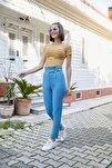Kadın İndigo Halka Kemerli Yüksek Bel Pantolon