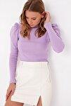 Kadın Lila Prenses Kol Yarım Balıkçı Şardonlu Crop Bluz ALC-X5042