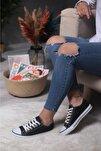 Siyah Simli Kadın Spor Ayakkabı