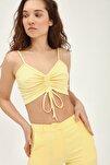 Kadın Sarı Askılı Büzgü Detaylı Büstiyer