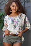 Kadın Bej Italyan Bahar Dalı Desenli Sıfır Yaka 3/4 Kol Dokuma Oversize Bluz M10010200bl95037