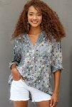 Kadın Gri Italyan Puan Desenli Patı Ve Cebi Pul Dokuma Uzun Kol Ayar Düğmeli Bluz M10010200bl95053