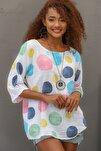 Kadın Beyaz Italyan Dev Puan Desenli Sıfır Yaka 3/4 Kol Oversize Dokuma Bluz M10010200bl95031