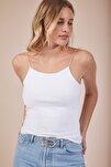 Kadın Beyaz İp Askılı Örme Body Bluz LD00018