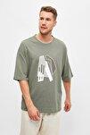 Haki Erkek Kısa Kollu Oversize Fit Baskılı T-Shirt TMNSS21TS1075