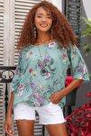 Kadın Mint Italyan Bahar Dalı Desenli Sıfır Yaka 3/4 Kol Dokuma Oversize Bluz M10010200bl95037