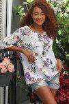 Kadın Beyaz Italyan Bahar Dalı Desenli Sıfır Yaka 3/4 Kol Dokuma Oversize Bluz M10010200bl95037