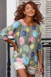 Kadın Yeşil Italyan Dev Puan Desenli Sıfır Yaka 3/4 Kol Oversize Dokuma Bluz M10010200bl95031