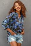 Kadın Mavi Italyan Kamuflaj Desen Pat Ve Cebi Pul Dokuma Uzun Kol Ayar Düğmeli Bluz M10010200bl95060
