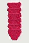 Kadın Kırmızı 6'lı Paket Kalçayı Saran Pamuklu Bikini Külot
