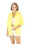 Sarı Oversize Uzun Basic Gömlek