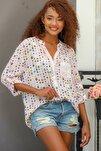 Kadın Bej Italyan Puan Desenli Patı Ve Cebi Pul Dokuma Uzun Kol Ayar Düğmeli Bluz M10010200bl95053