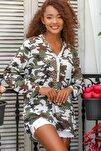 Kadın Beyaz Italyan Kamuflaj Desen Pat Ve Cep Pul Dokuma Uzun Kol Ayar Düğmeli Bluz M10010200bl95060